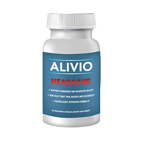 Migraine Relief Headache Supplement, Alivio with Magnesium, Feverfew, Riboflavin, Vitamin B12, and Caffeine, 100 mg, 30 Servings 1 Month Supply