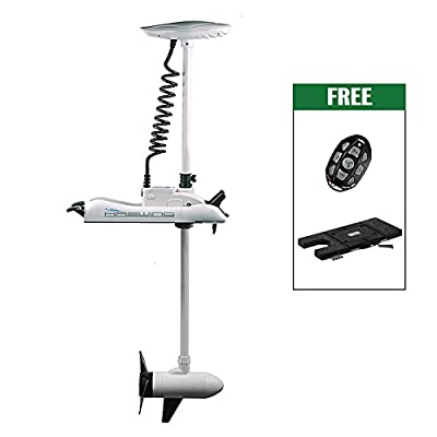 "White Haswing Cayman 24V 80LBS 60"" Shaft Bow Mount Electric Trolling Motor Lightweight, Variable Speed,with Quick Release Bracket for Bass Fishing Boats Freshwater and Saltwater Use,Energy Saving"