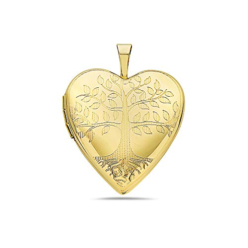- Pori Jewelers 14K Solid Yellow Gold Heart Locket Pendants- Perfect for Holding Photos, Messages, sentimental's-Multiple Styles Available (Tree of Life (25MM))