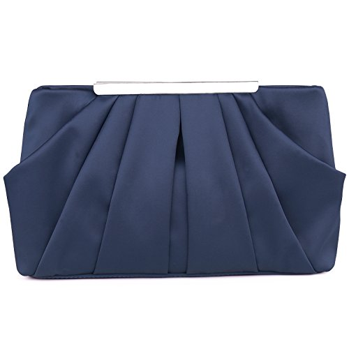(Womens Pleated Satin Evening Handbag Clutch With Detachable Chain Strap Wedding Cocktail Party Bag Blue)