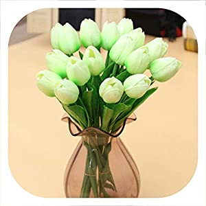 mamamoo 1 Pcs Fake Red Tulips Silk Tulip Artificial Flowers Tulips for Home Decoration Lot Artificial Flowers for Wedding Tulip Bouquets,Tulip D14 LightGreen 12