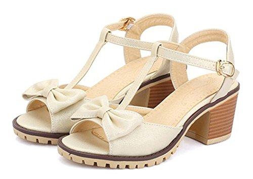Peep Nœud Abricot Aisun Toe Mode Sandales Papillon Femme Uw1CA1qF