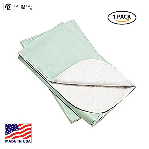 (Platinum Care Pads Made in USA, Heavy Duty Reusable Bedpad, Underpad or Chuck pad, for Incontinence use Washable 52x34 Green)