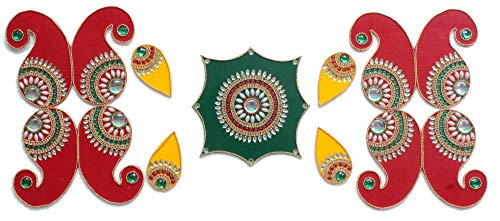 Ethnic Avenue 9 Piece Mandala Rangoli Diwali Floor/Wall/ Table Decorations - Handmade in India Home Decor Accents (Best Rangoli Designs In India)
