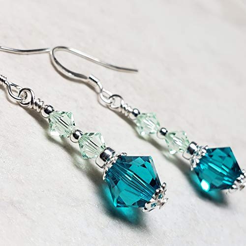 (Handmade Sterling Silver Dangle Earrings Made with Swarovski® Crystals- Blue Zircon Color and Chrysolite Color )