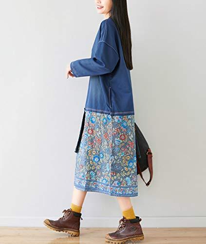 YESNO Women Long Casual Hooded Sweatshirt Dress Ethnic Floral Print Color Block Hemline/Kangaroo Pocket JFD