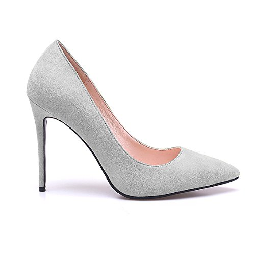 Pointed Pumps Heel ZAPROMA Woman High Shoes Wedding Grey Stiletto Toe Womens fRWWxw6q5