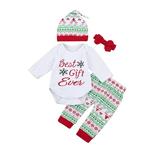 4Pcs Christmas Outfits Set Baby Boy Girl Romper Tops+Pants+Hat+Headband (3M, White)