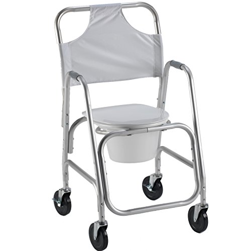 Shower Access Chair - PCP Lightweight Shower Transport Chair with Commode Pail, Grey