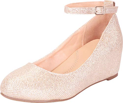Cambridge Select Women's Ankle Strappy Buckle Round Closed Toe Wrapped Wedge,7 M US,Nude Glitter