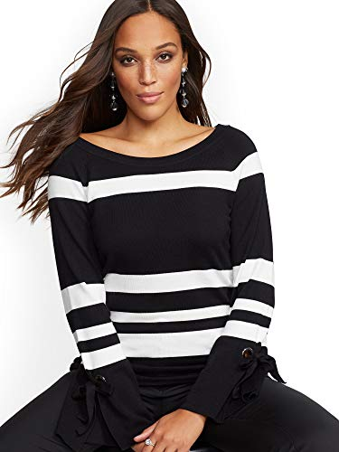 New York & Co. Women's Stripe Grommet Lace-Up Sweater Xlarge Blackwhite