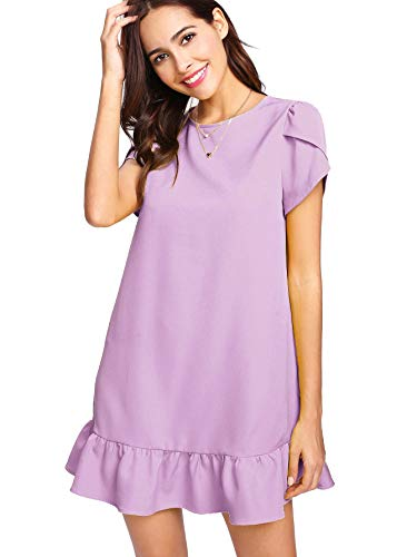 Verdusa Women's Round Neck Petal Short Sleeve Ruffle Hem Tunic Dress Purple XXL