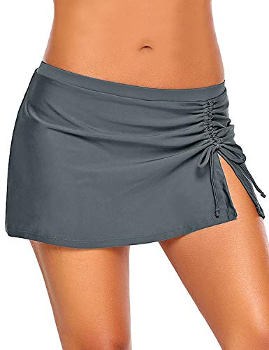 GRAPENT Women's Elastic Tie Side Slit Shirred Swim Skirt Swimsuit Bikini Bottom Grey Size L
