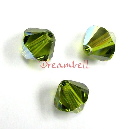 72 pcs Swarovski Crystal 5328 Xilion Bicone Bead Spacer Olivine AB 4mm / Findings / Crystallized Element Olivine Crystal Necklace