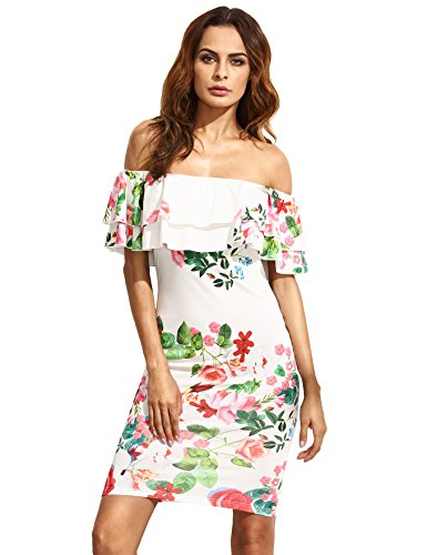 (Floerns Women's Floral Ruffle Off Shoulder Party Sexy Bodycon Dress White M)