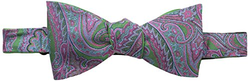 Happy Ties Men's Paisley and Solid Reversible Bowtie, Kelly Green, One Size ()