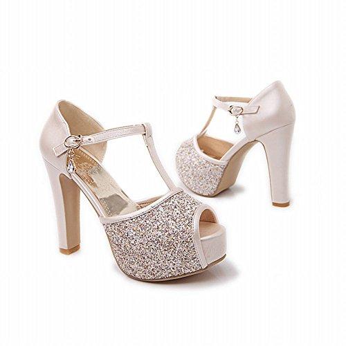 Shiny toe Peep Shoes strap T High Heel Platform Buckle Sequins Pendant Womens Rhinestone Sandals Chic Carol Beige x4PwqgnYvq