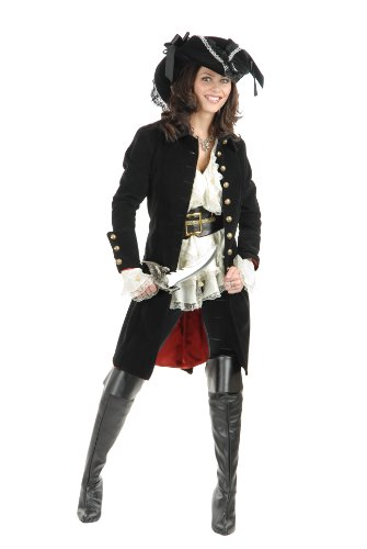 Charades Women's Pirate Vixen Jacket, Black, Medium (Female Pirate Jacket)