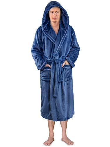 (Premium Men Fleece Robe with Hood and Satin Trim | Luxurious Soft Plush Bathrobe Blue)