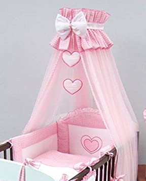 Luxury Baby Cot Bed Crown Canopy / Mosquito Net 480 cm Only HEART - PINK & Luxury Baby Cot Bed Crown Canopy / Mosquito Net 480 cm Only HEART ...