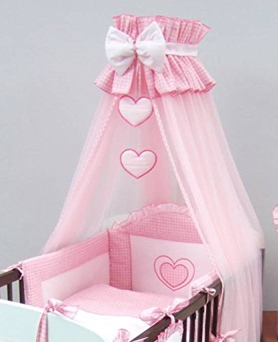 Luxury Baby Cot Bed Crown Canopy/Mosquito Net 480 cm Only HEART - PINK Babycomfort