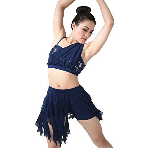 Contemporary Ballet Costumes (MiDee Dance Costume 2 Pieces Sequins One Shoulder Diagonal Crop Top Spiral Skirt (IC, Navy))