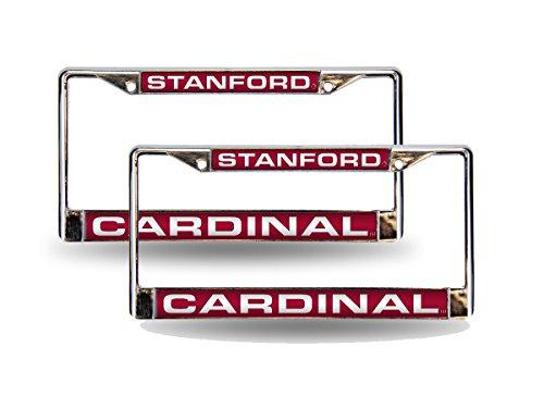 (Rico Stanford Cardinal Chrome Metal (2) Laser Cut License Plate Frame Set)