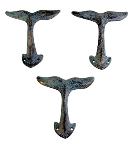 Home Originality Whale Tail Cast Iron Wall Hook Blue Green 4 3/4 Inch (Set of 3)