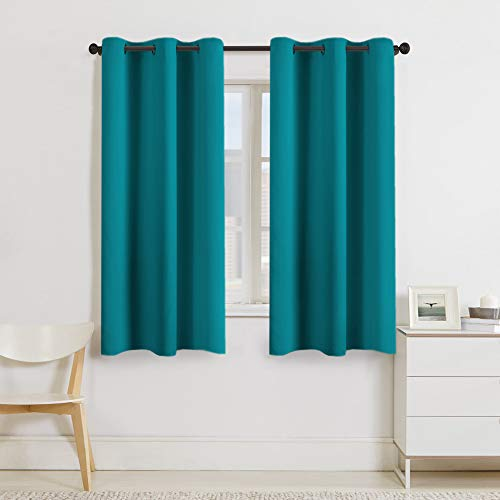 Turquoize Teal Blackout Window Drapes Room Darkening Themal Insulated Grommet/Eyelet Top Nursery/Living Room Curtains for Bedroom/Living Room Each Panel 42