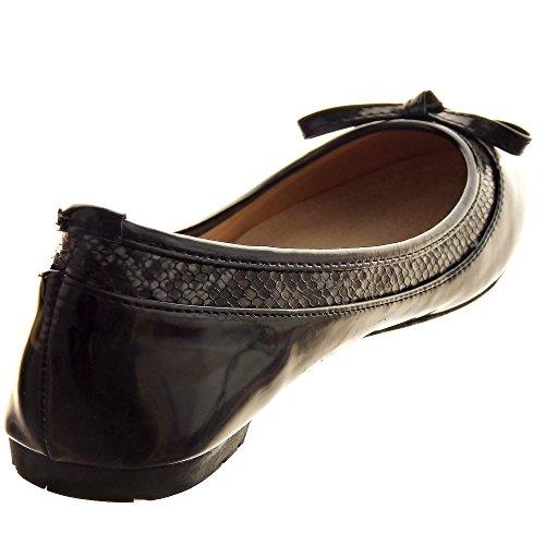 Sopily - Zapatillas de Moda Bailarinas decollete Tobillo mujer pajarita metálico Talón Tacón ancho 1 CM - Negro