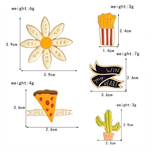 Autumn Water 5 pcs/Set Flower Cactus Pizza French Fries Ribbon Win My Heart Metal Brooch Pin Denim Jacket Collar Badge Button Pins Jewelry