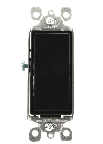 - Leviton 5603-2E 15 Amp, 120/277 Volt, Decora Rocker 3-Way AC Quiet Switch, Residential Grade, Grounding, Black