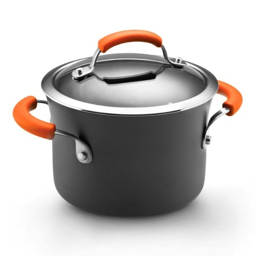 Rachael Ray Hard Anodized II Nonstick Dishwasher Safe 3-Quart Covered Saucepot, Orange, Appliances for Home