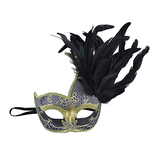 [Pretty Venetian Halloween Costume Masquerade Mask with Feather Black] (Venetian Carnival Masks)