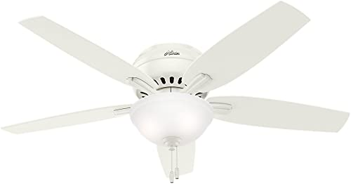 Hunter Fan Company 53313 Hunter Newsome Indoor Low Profile Ceiling Fan with LED Light and Pull Chain Control, 52 , White
