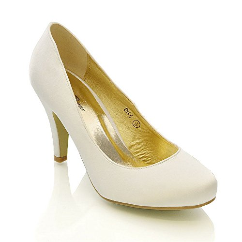 ESSEX GLAM WOMENS WEDDING MID HEEL LADIES BRIDAL WHITE IVORY PARTY PROM HEELS COURT SHOES SIZE 3 4 5 6 7 8 (UK 4/EU 37/US 6, IVORY SATIN)