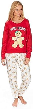 Señoras Algodón Rico Navidad Pijama Pajama Set Oso Polar Jengibre M Galleta De Jengibre Clothing