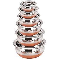 skars 6pcs Stainless Steel Copper Bottom Handi Set Heavy Gauge by Skars