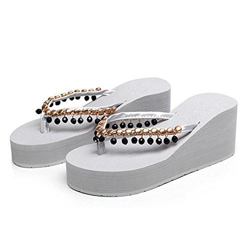 Confortable Eté Bohême Simple Fille Plage Mode Slippers Gris Frestepvie Sandales Casual Chaussures Espadrilles Plat Femme Chaussons Compensé Fx1wP