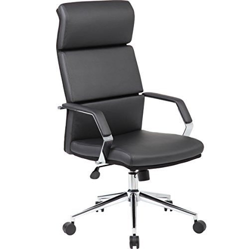 "Genesis Designs ""Madison"" High Back Executive/Conference Room Office Chair with Sleek, Dual Wheel Casters, Chrome Arms & Base, Leather Plus, Padded Armrests & Reclining Back, Black"