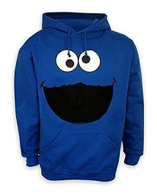 Barrio Sésamo Capucha Sudadera monstruo cara Cookie Monster hoodie en tamaño S–Sudadera con capucha