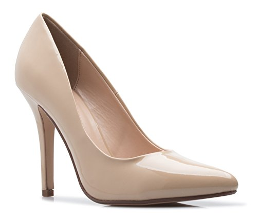 My Delicious Shoes Women's Classic D'orsay Closed Toe High Stiletto Heel Pump | Dress, Work, Party HIGH Heeled Pumps | Casual Comfortable Dk Beige Patent 10 M US