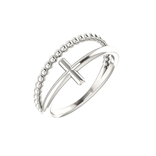 Sterling Silver Negative Space & Beaded Cross Ring (Negative Space Cross)