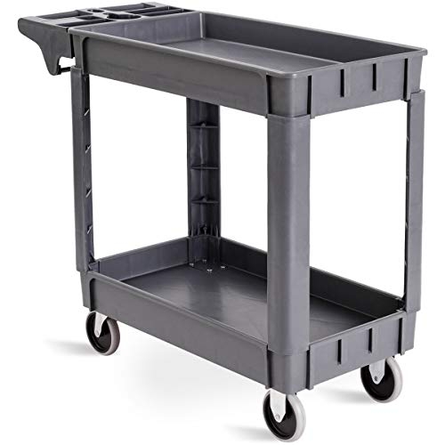 "Goplus Plastic Service Cart Utility Storage Cart for All Purpose 550 LBS Capacity (2 Shelves 39"" x 17"" x 33"")"