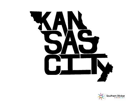 ExpressDecor State Outline Kansas City Missouri 3.9x4.5 inches - USA Flag Funny Stickers for pro Union Lunch Box Tool Box Symbol Window Motorcycle - Made and Shipped in USA (Black)