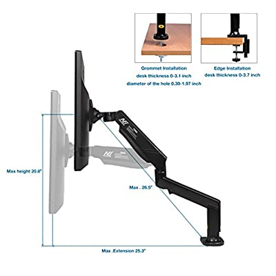 North Bayou Monitor Desk Mount Stand Full Motion Swivel Monitor Arm Tension Spring for 22''-32'' Computer Monitor from 4.4-17.6 lbs