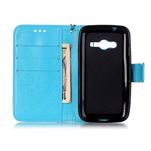 JIALUN-Personality teléfono shell Patrón de flor en relieve de lado único de la PU, caja de la correa plegable diseño de libro de diamantes de imitación de resina para Samsung Galaxy Ace 4 G313H versi Blue