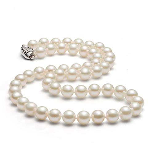 Gnzoe 8-9mm White Cultured Akoya Pearl Necklace for Women, for Mom, 20''