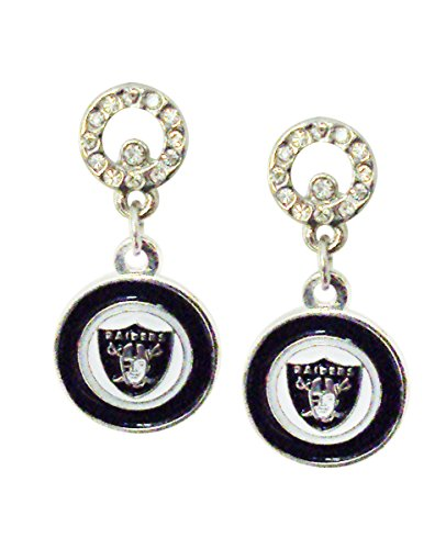 NFL Oakland Raiders Circle Post Earrings
