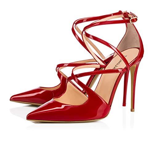 Sun cheville sandales rose rouge avec à couleur femmes pour pression entrecroisée talons habillées taille boutons boucle Huijie 37 Escarpins boucle g7gwYrCq